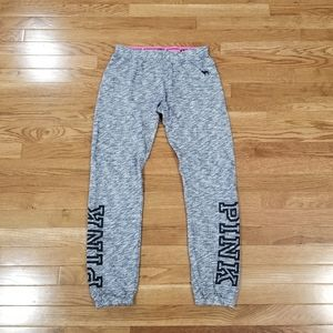 Pink gray joggers fold-over waist S